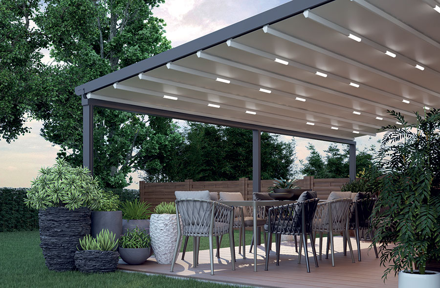 Veranda With Folding Roof Aluminium Frame